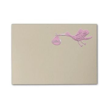 Pink Stork Delivering Girl Post-it® Notes