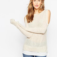 ASOS Jumper with Cold Shoulder and Woven Detail