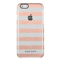 Faux Rose Gold Glitter Uncommon Clearly™ Deflector iPhone 6 Case