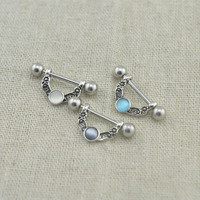 TWO nipple rings,Nipple ring cat's eye gemstones nipple ring nipple piercing