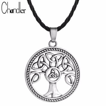 Chandler Celtic Knot Family Tree of Life Round Charm Pendant Necklace (Unisex)