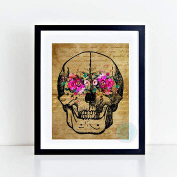 PRINTABLE Art Watercolor Print Gothic Wall Art Human Anatomy Print Skull Print Skeleton Print Medical Poster, Doctor Print Anatomy Poster