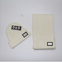 D & G foreign trade scarf big scarf hat suit  White