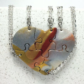 Heart shaped Best Friend puzzle Necklaces set of 5 Metallic mix polymer clay set 248