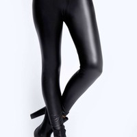 Eliza Matte Black Leather Look Leggings