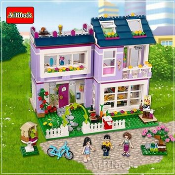 730 Pcs Bricks Emma House With 3 Pcs Figures Compatible Legoing Friends For Girl Hotel Building Blocks Birthday Gifts Toys
