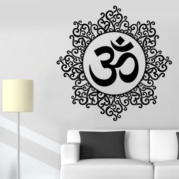 Yoga Wall Sticker Om Meditation Indian Spiritual Zen Lotus Vinyl Decal Removable Vinyl Wall Stickers Home Decor Wallpaper D451