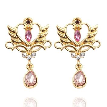 Cool Fashion Japenese Anime Sailor Moon Earrings Cosplay Princess Queen Serenity Tiara Stud Earring For Women Girls Heart JewelryAT_93_12