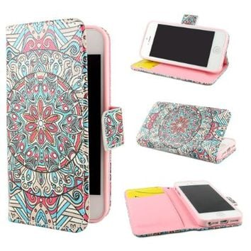 """ivencase Tribal Design Wallet PU Leather Stand Flip Case Cover For Apple iPhone 5 5S + One """"ivencase """" Anti-dust Plug Stopper:Amazon:Cell Phones & Accessories"""