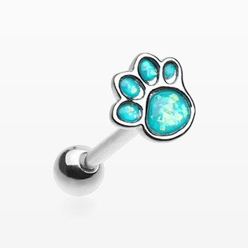 Adorable Paw Print Opalescent Sparkle Barbell Tongue Ring