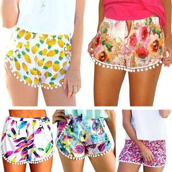 USA Hot Pants Summer Women's Casual Floral Shorts High Waist Beach Shorts Pants