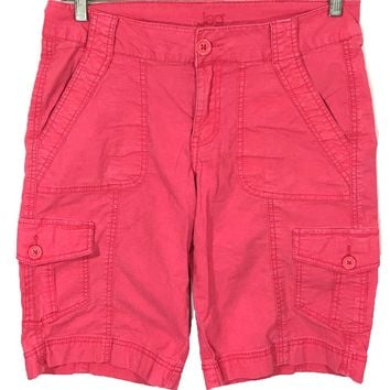 Jag Jeans Begonia 6 Pocket Pink Cargo Shorts Flap Pockets J1542103 Womens 8 - Preowned