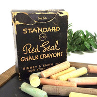 vintage 30s standard red seal chalk crayons no 64 binney & smith new york navy blue cardboard box storage prop display office teacher usa