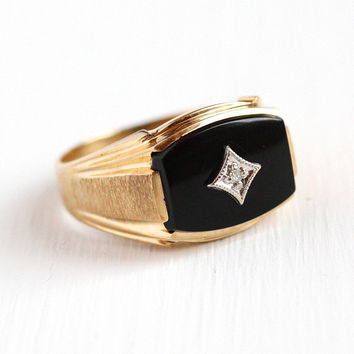 Vintage Onyx Ring - 10k Yellow Gold Black Gemstone & Diamond Band - Mid Century 1960s Size 10 3/4 Men's Women's Statement Jewelry