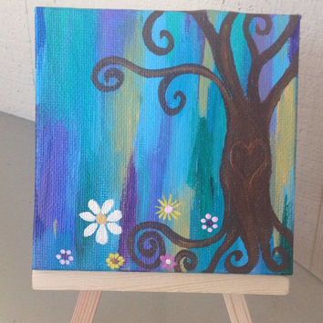 Groovy Heart Tree of Life Mini 2x2 with easel FREE shipping abstract happy hippy earthy acrylic