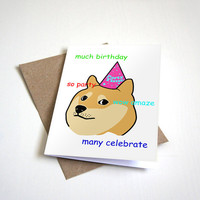 Doge Birthday Greeting Card - Humour Card Happy Birthday -  5 x 7
