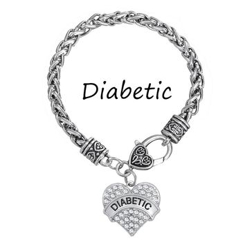 DIABETIC  Awareness Medical Alert Charm Bracelet