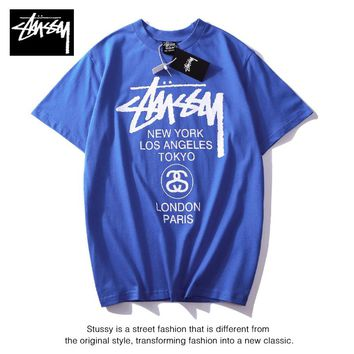 Hot Tunic stussy Women Man Fashion Print Sport Shirt Top Tee