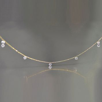 Single And Double Diamond Fringe Drop Necklace