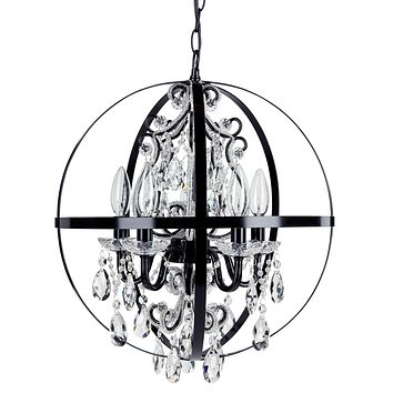 5 Light Crystal Beaded Orb Plug-In Chandelier (Black)