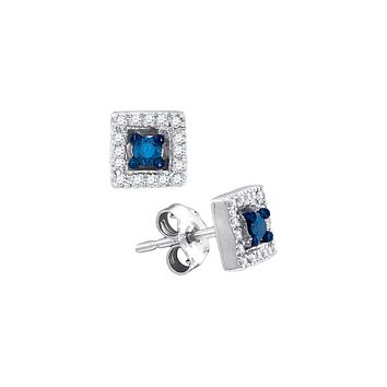 10kt White Gold Womens Round Blue Colored Diamond Square Solitaire Stud Earrings 1/5 Cttw