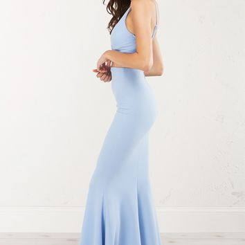 PERIWINKLE BLUE LONG MERMAID SKIRT