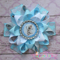 Frozen Olaf The Snowman Loopy Flower Hair Bow