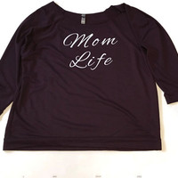 Mom life sweatshirt Mom Life sweater Mom Life Purple terry off the shoulder sweater 3/4 sleeve Mom Life hoodie Gift for Moms