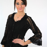 Vintage 90s grunge goth black lace shirt button down Victorian gothic top Medium