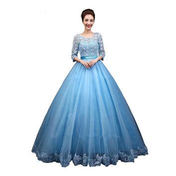 O-neck Sleeves Princess Dresses Ball Gowns Lace up Wedding Frocks