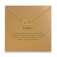 Hot Sale karma large 2 linked gold plated Pendant necklace Clavicle Chains Fashion Statement Necklace Women Jewelry