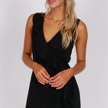 Ruffle Accented Wrap Dress Black