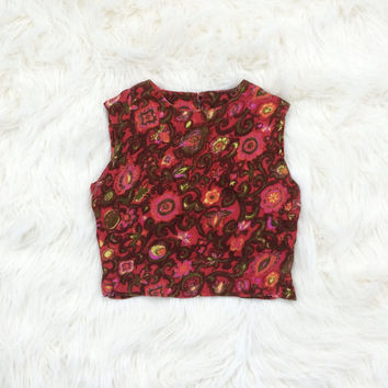 Vintage 60's Malbe Trippy Floral Crop Top