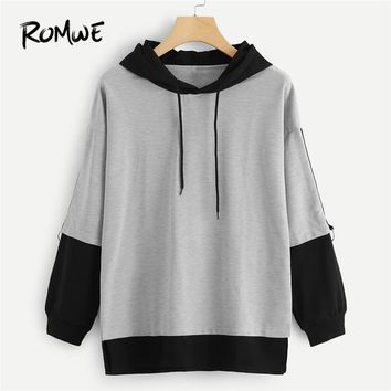 ROMWE Color Block Drawstring Hooded Sweatshirt Women Casual Autumn New Style Grey Pullovers Spring Sporty Long Sleeve Hoodie