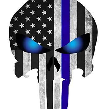 Thin Blue Line Glowing Eyes - Honor Your Police Officer -Punisher Decal