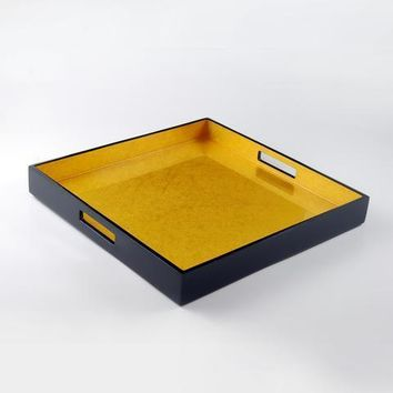 Shine Gold Leaf Inlay with Black Lacquer Serving Tray