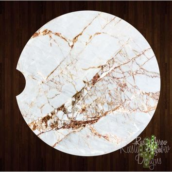 White and gold Marble Sandstone Car Coaster