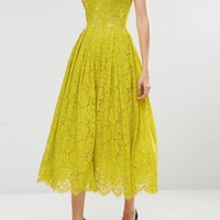 ASOS Sweetheart Lace Bandeau Midi Dress at asos.com