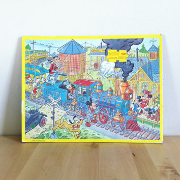 Disney Characters on a Train: Frame Tray Jigsaw Puzzle Featuring Mickey Mouse, Goofy and Donald Duck {1970s} Vintage Toy