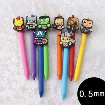 8 pcs/Lot Cartoon Gel pen Cute Captain America 0.5mm black ink pens zakka Stationery Canetas Office accessories school supplies