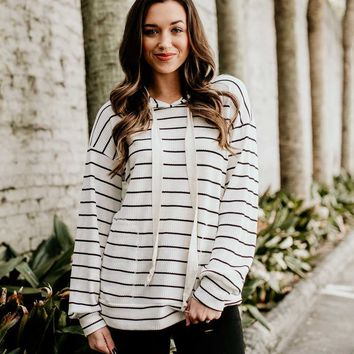 Share Joy Striped Thermal Hoodie