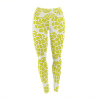 "Pom Graphic Design ""Grape Blossoms"" Yellow Circles Yoga Leggings"