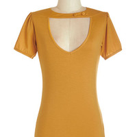 ModCloth Rockabilly Mid-length Short Sleeves Raven Review Top in Goldenrod