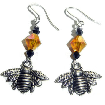 Silver Bumble Bee Dangle Earrings with Golden Honey and Black Crystals, Nature Earrings, Sterling Silver