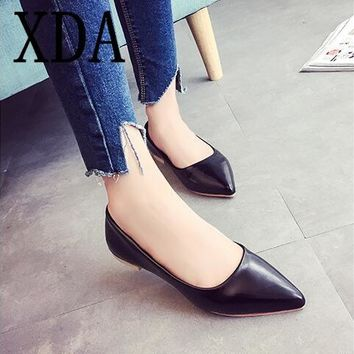 XDA 2018 new fashion Women Flats Shoes Ballet Leather Ladies Casual Shoes pointed toe shallow mouth Single shoes free shipping