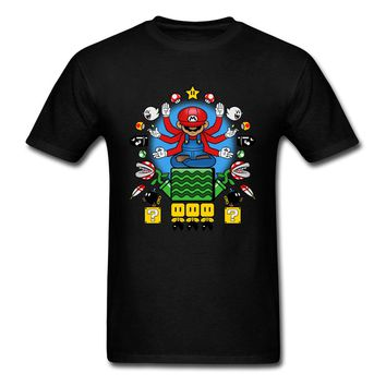 Lasting Charm Mushroom Nirvana T Shirt Mario Sports T-shirt Men Game 80s Vintage Adventure Gamer Tshirts Black