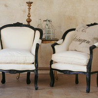 black Ruggedly Chic wingback chairs by bohemiennes on Etsy