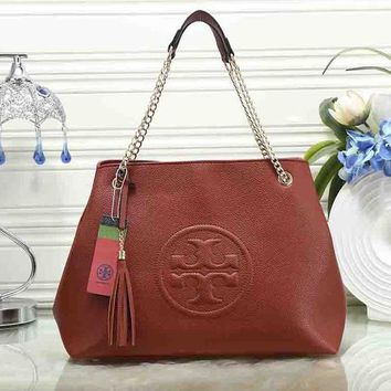 Tory Burch Stylish Women Leather Metal Chain Satchel Shoulder Bag Handbag Brown I