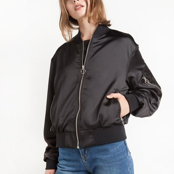 Black Circle Ring Zipper Bomber Jacket