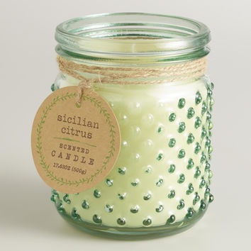 Green Sicilian Citrus Glass Hobnail Jar Candle